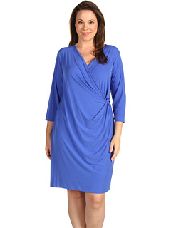 SALE! $49.28 - Save $60 on Calvin Klein Plus Size 3 4 Sleeve V Neck Dress (Lapis) Apparel - 55.00% OFF $109.50