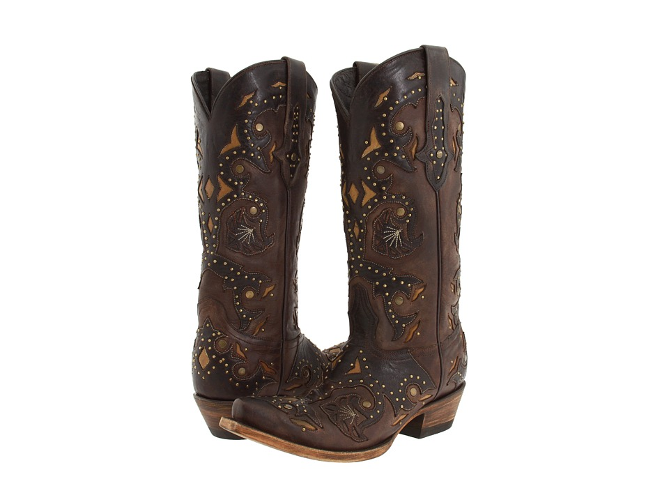 Lucchese - M5015 (Studded Scarlette Cafe Brown Calf) Cowboy Boots
