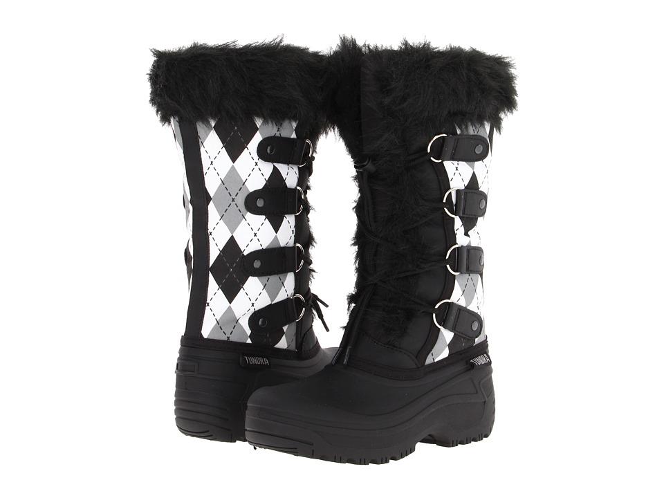 Tundra Boots Kids - Diana (Little Kid/Big Kid) (Black/White Argyl) Girls Shoes