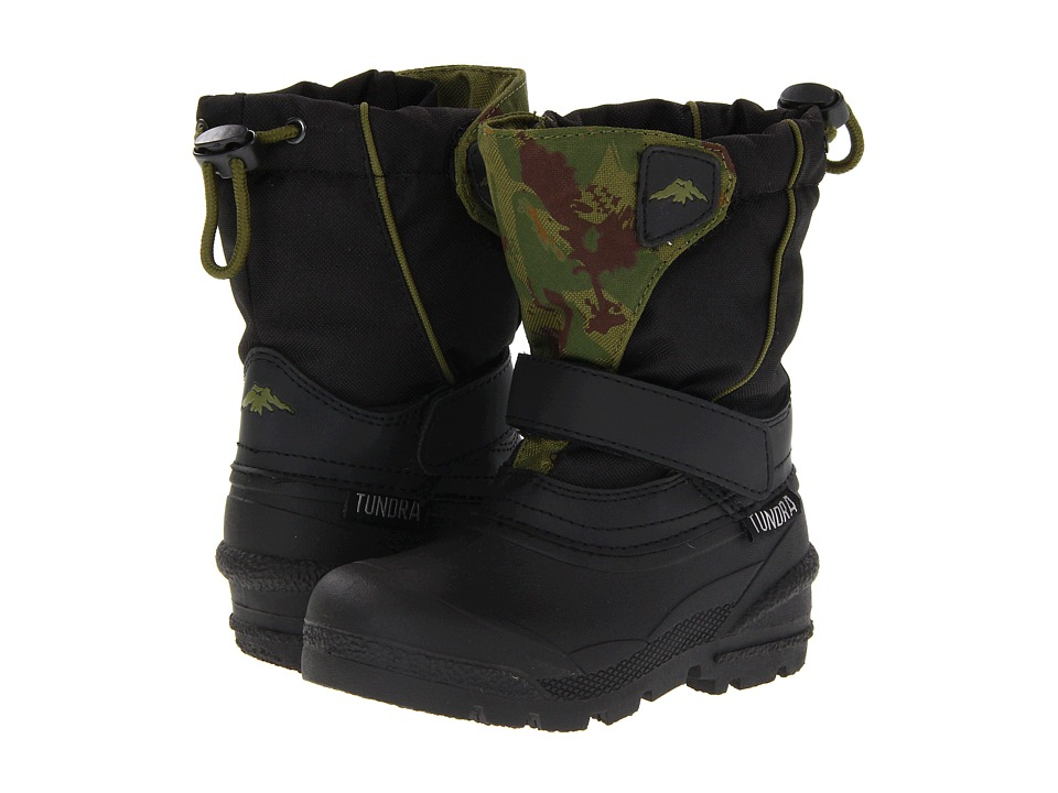Tundra Boots Kids Quebec (Toddler/Little Kid/Big Kid) (Black/Green Camo) Boys Shoes