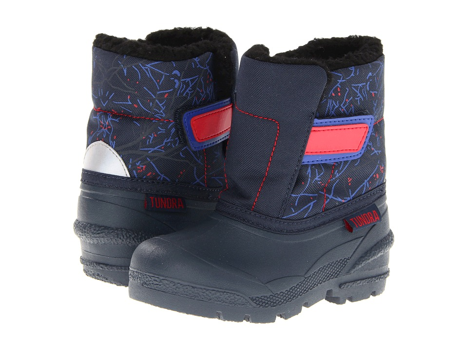 Tundra Boots Kids Smile (Toddler) (Navy/Red Print) Girls Shoes