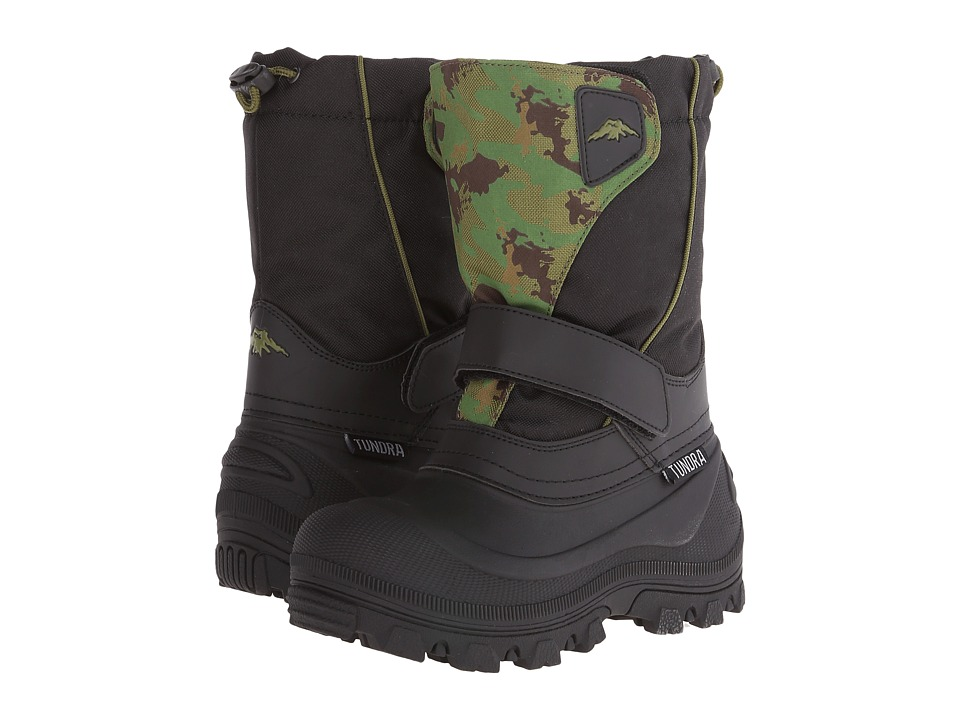 Tundra Boots Kids Quebec Wide (Toddler/Little Kid/Big Kid) (Black/Green Camo) Boys Shoes