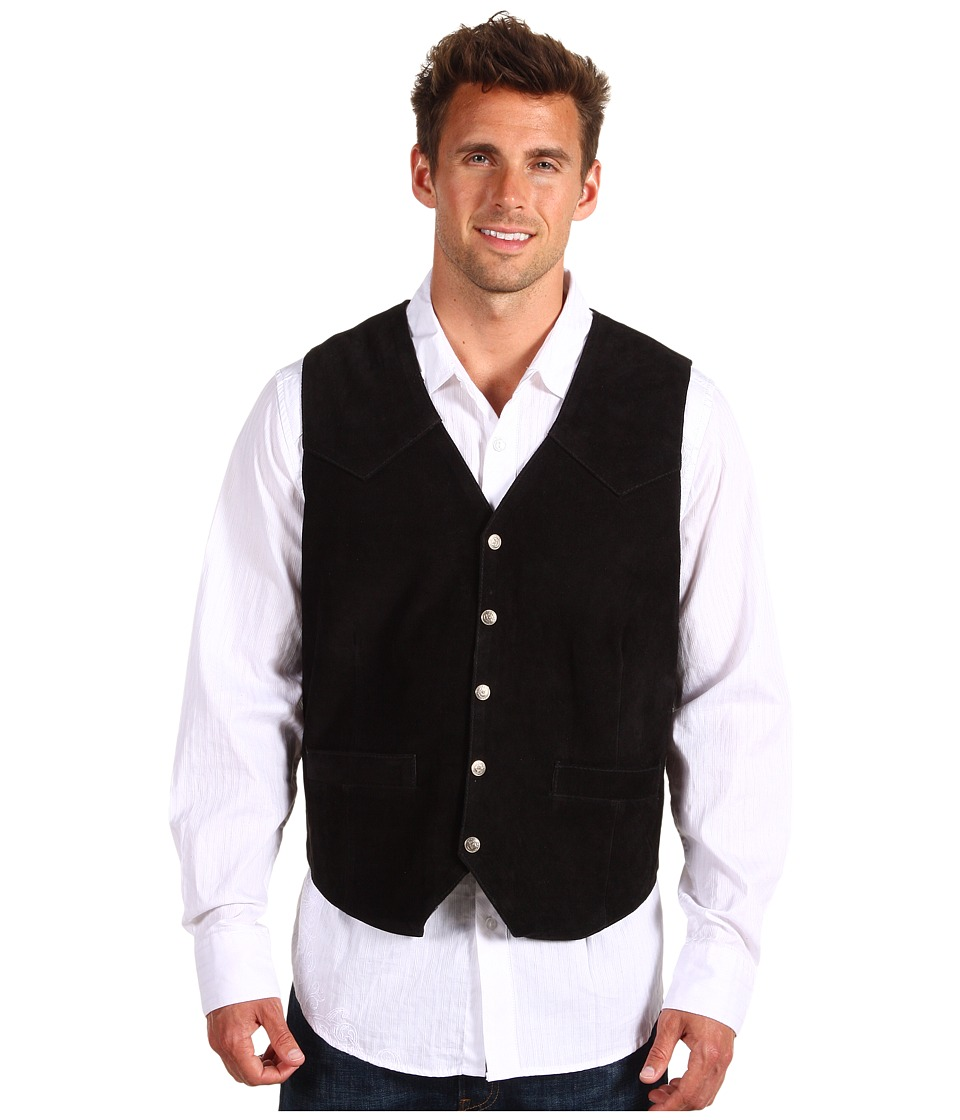 Roper - Suede Vest with Front Yokes (Black) Men's Vest