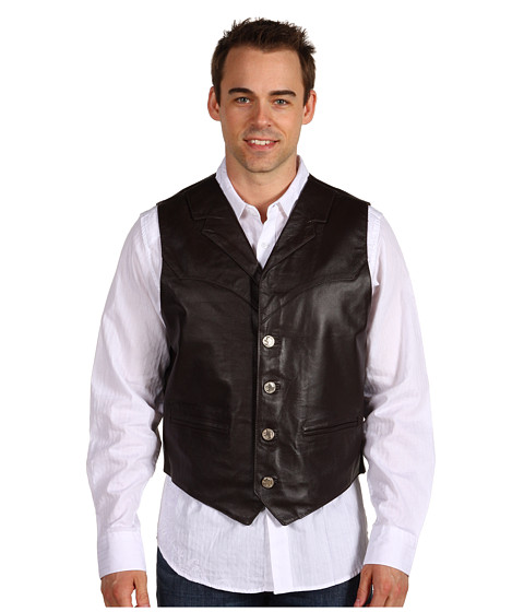Roper - Leather Notch Collar Vest (Brown) Men