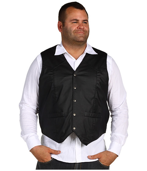 Roper - Action Leather Vest (Black) Men's Vest