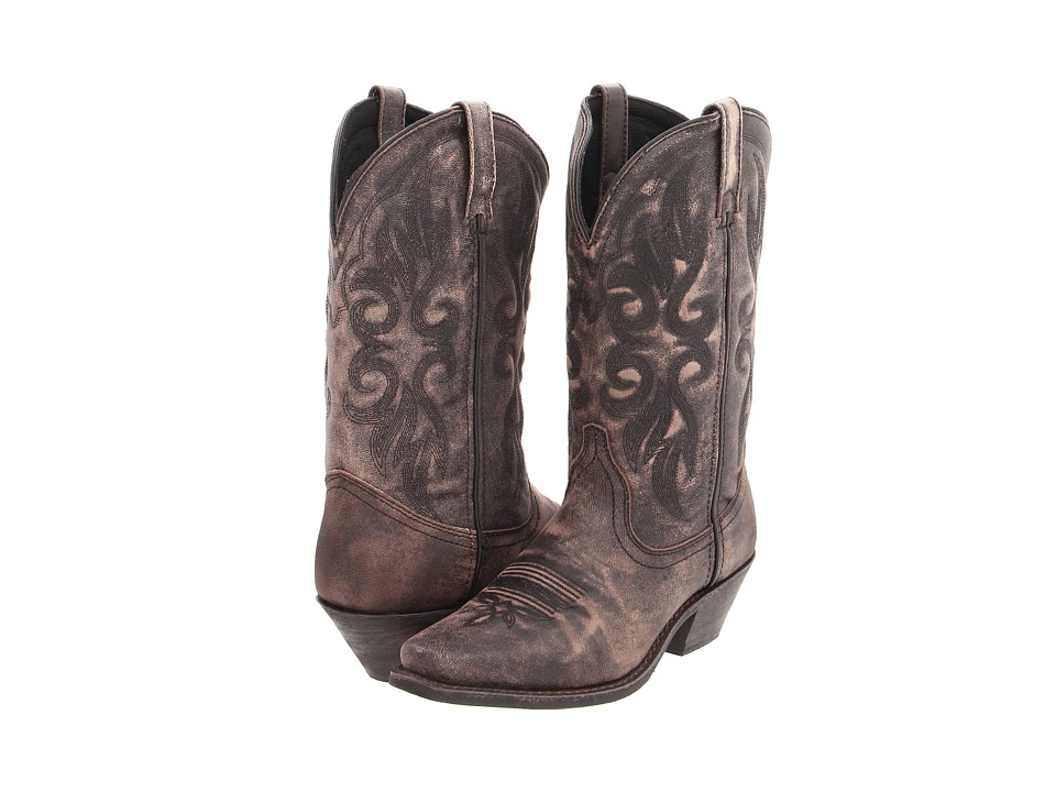 Laredo Maricopa (Black/Tan Crackle Goat) Cowboy Boots