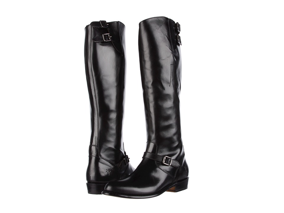 Frye - Dorado Buckle Riding (Black Smooth Polished Veg) Women's Dress Pull-on Boots