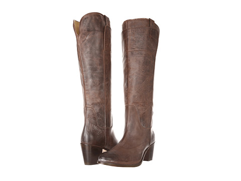 Frye - Jackie Tall Riding (Dark Brown Burnished Antiqued Leather) Cowboy Boots