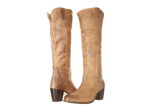 Frye - Jackie Tall Riding (Tan Burnished Antiqued Leather) Cowboy Boots