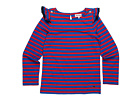 Juicy Couture Kids - Devonshire Ruffle Sleeve Top (Toddler/Little Kids/Big Kids) (Coastal Blue/Red Ginger) - Apparel