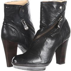 Frye Mimi Snap Bootie (Black Antique Soft Full Grain) Footwear