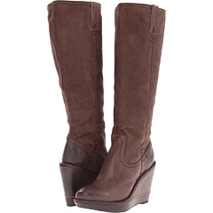 Frye Paige Wedge X Stitch (Chocolate Vintage Leather) Footwear