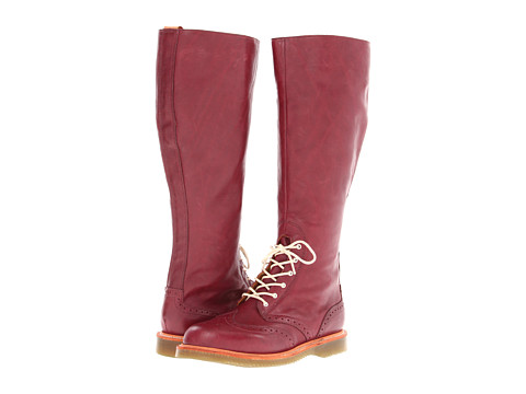Dr. Martens Moya Tall Brogue Boot (Cherry Red Double Down) Women's Zip Boots