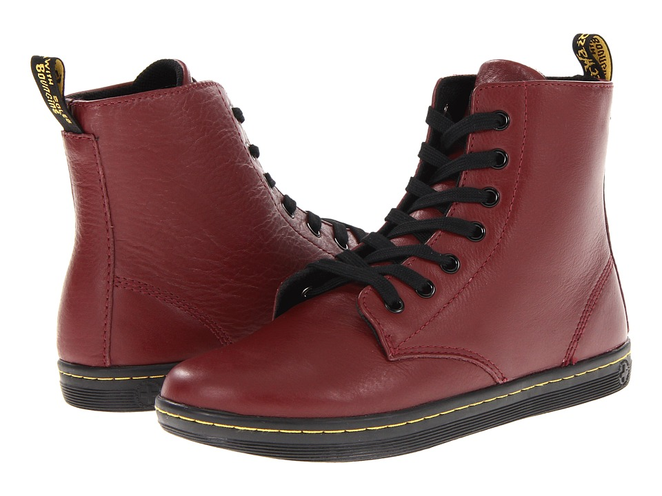 Dr. Martens - Leyton 7-Eye Boot (Cherry Red) Women's Lace-up Boots