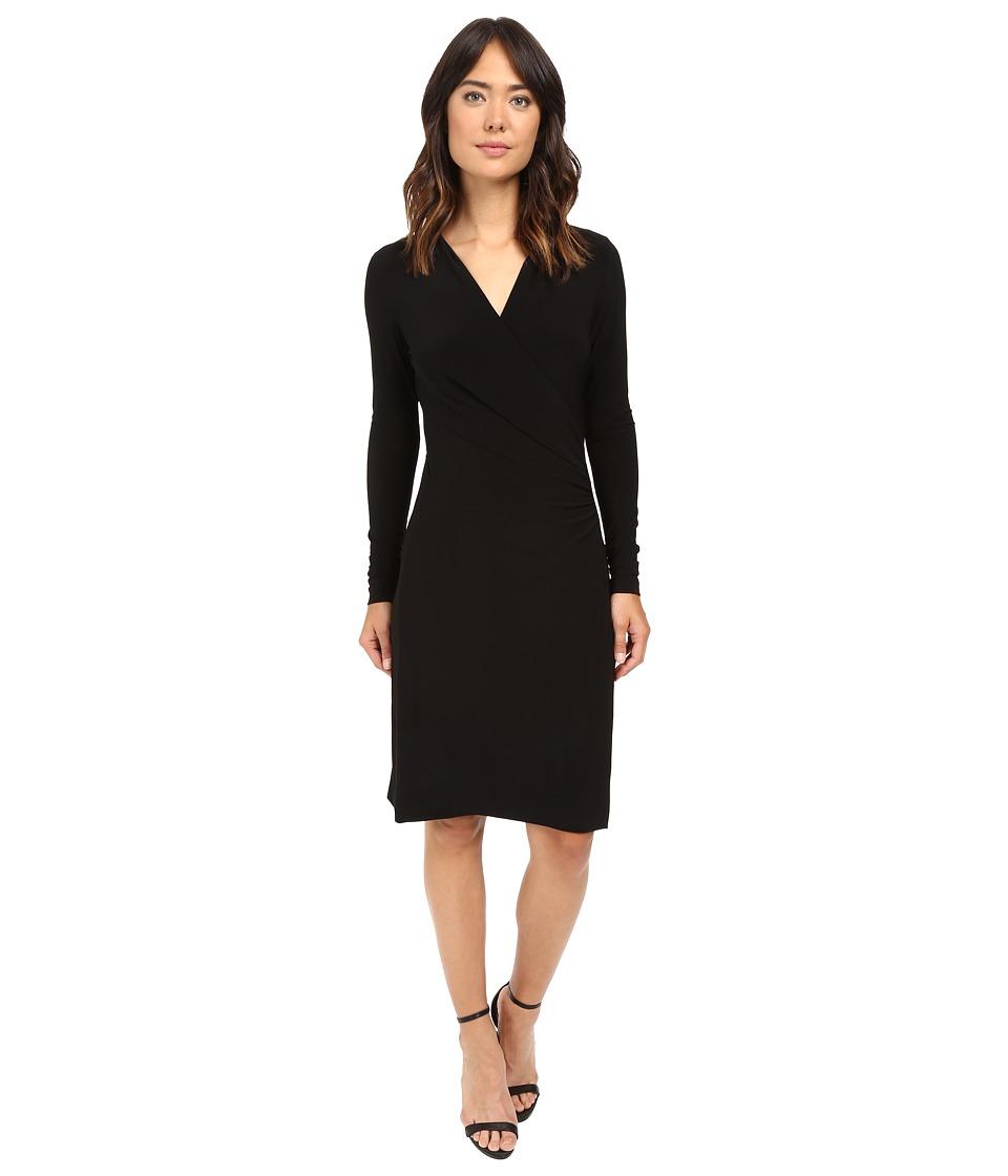 KAMALIKULTURE by Norma Kamali - L/S Side Draped Dress (Black) Women's Dress