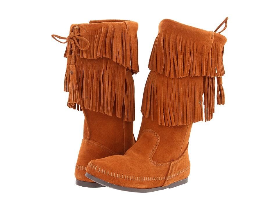 Minnetonka - Calf Hi 2-Layer Fringe Boot (Brown Suede) Women's Zip Boots