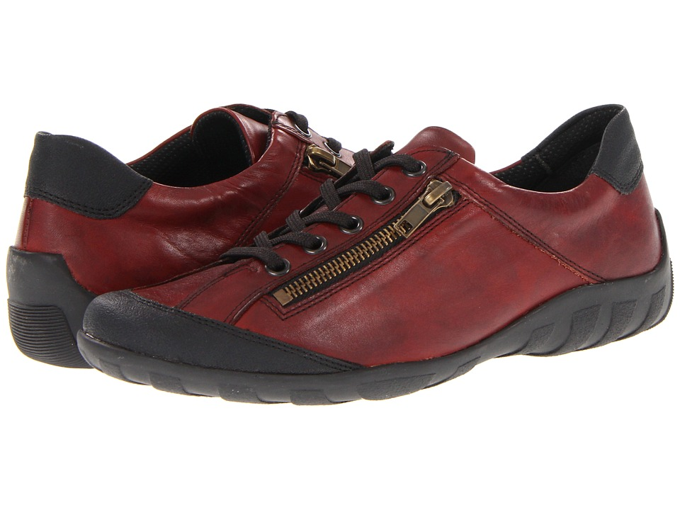 Rieker - R3421 Liv 21 (Black/Red Leather) Women's Lace up casual Shoes