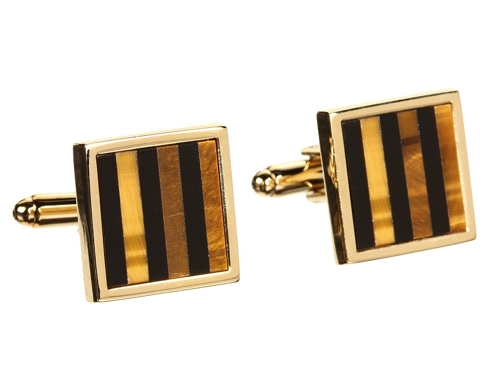 Stacy Adams - Cuff Link 10141 (Gold w/ Onyx) Cuff Links