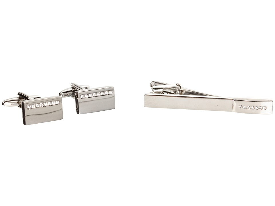Stacy Adams - Cuff Link/Tie Bar Set 89114 (Silver) Cuff Links