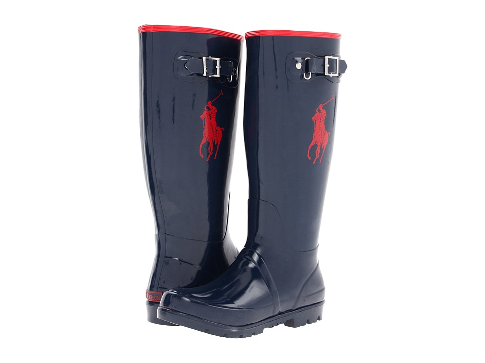 Polo Ralph Lauren Kids - Ralph Rainboot (Big Kid) (Navy/Red Rubber) Kid's Shoes