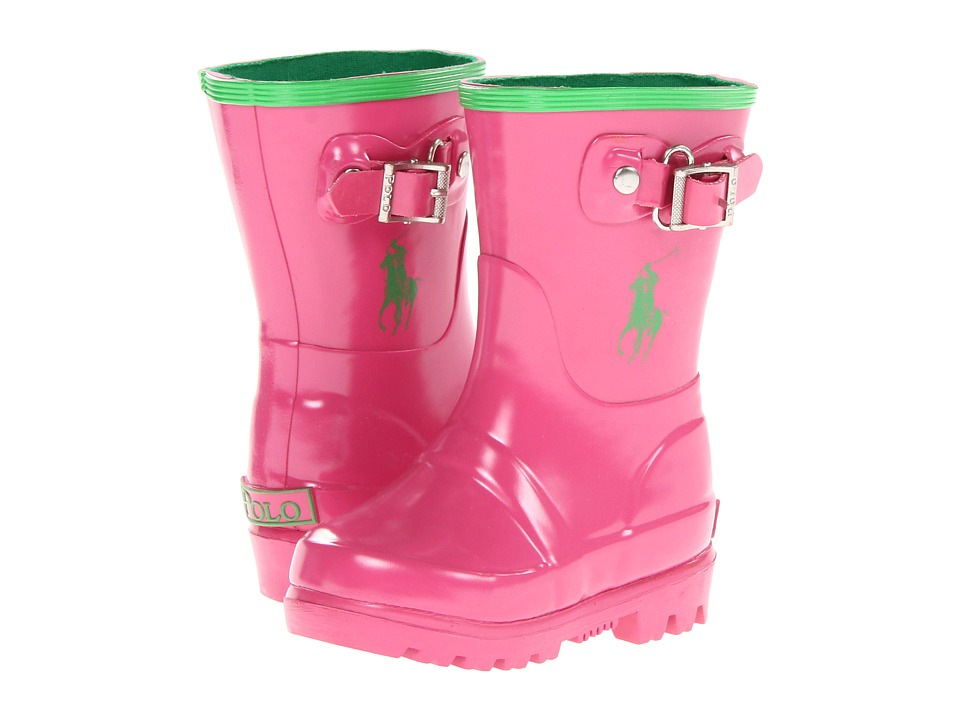 Polo Ralph Lauren Kids - Ralph Rainboot (Toddler) (Pink/Green Rubber) Girl