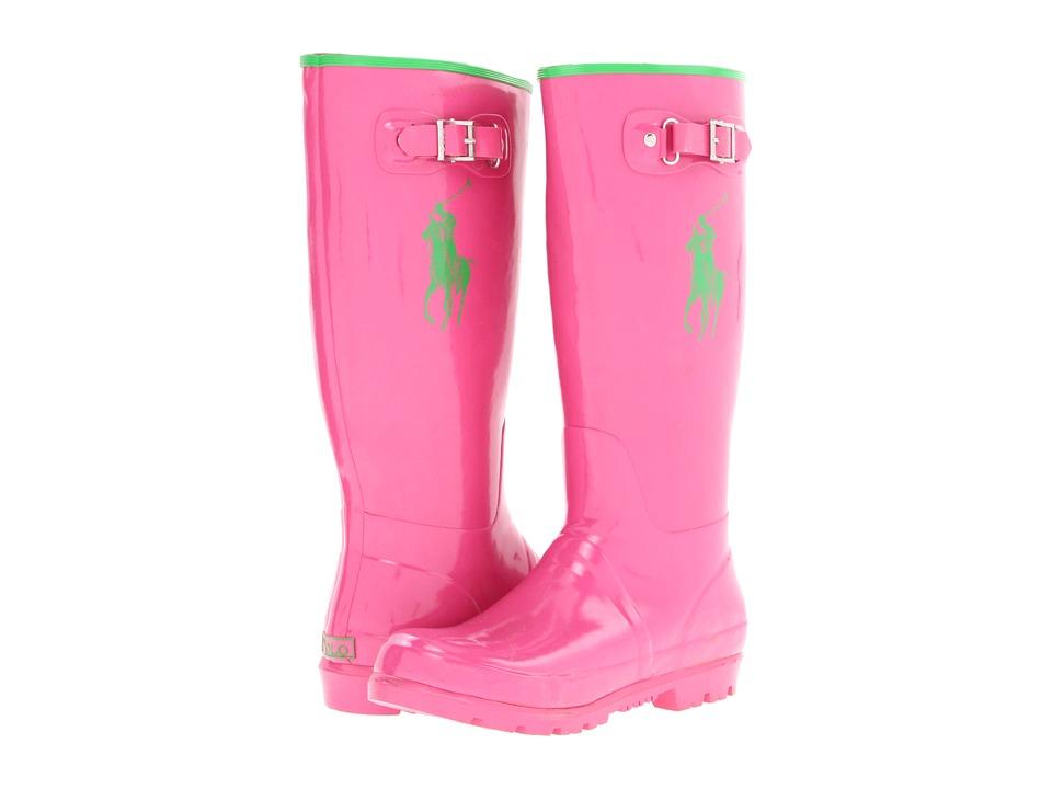 Polo Ralph Lauren Kids - Ralph Rainboot (Big Kid) (Pink/Green Rubber) Girl's Shoes