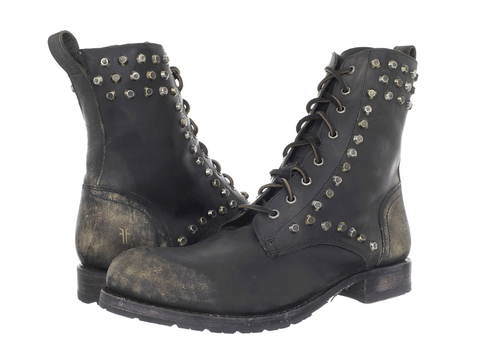 Frye - Rogan Biker Lace (Black/Stone Wash) Men's Boots