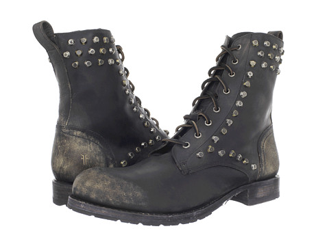 Frye - Rogan Biker Lace (Black/Stone Wash) Men