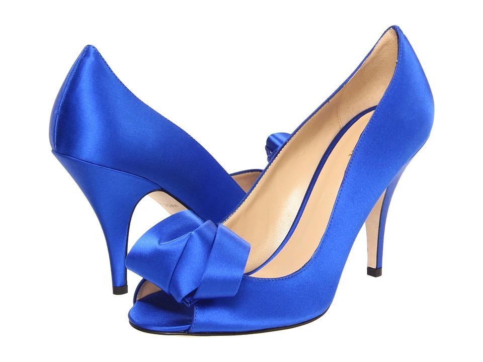 Kate Spade New York - Clarice (Cobalt Satin) Women's Toe Open Shoes
