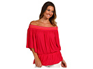 Michael Stars - Sheer Jersey Smocked Peasant Top (Watermelon) - Apparel