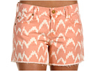 7 For All Mankind - Carlie Cut-Off Short Ikat (Coral) - Apparel