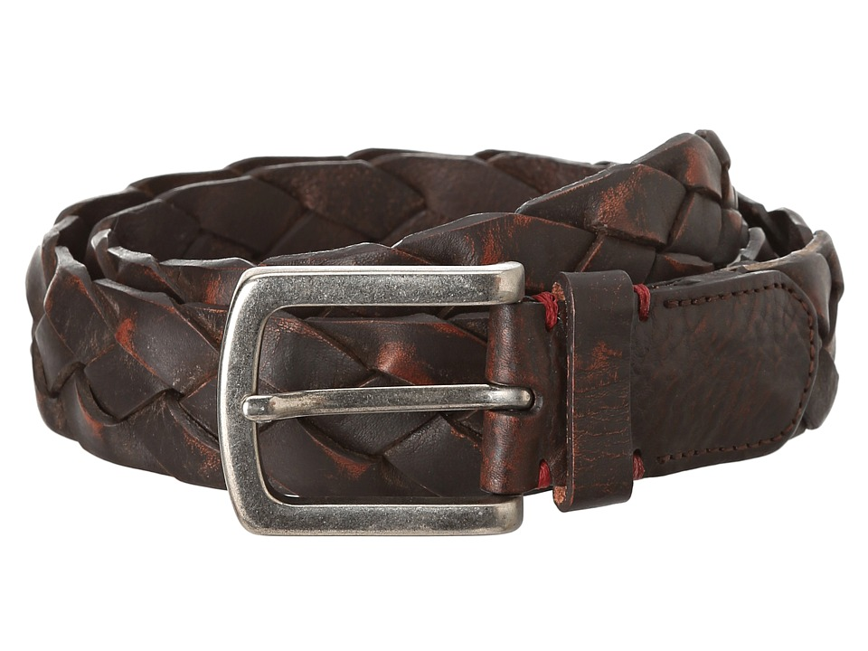 Torino Leather Co. - Washed Leather Braid Belt (Brown) Men's Belts