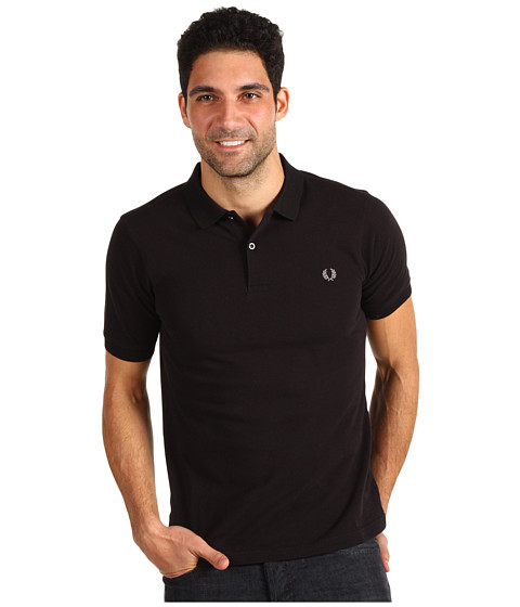 Fred Perry - Slim Fit Solid Plain Polo (Black/Chrome) Men's Clothing