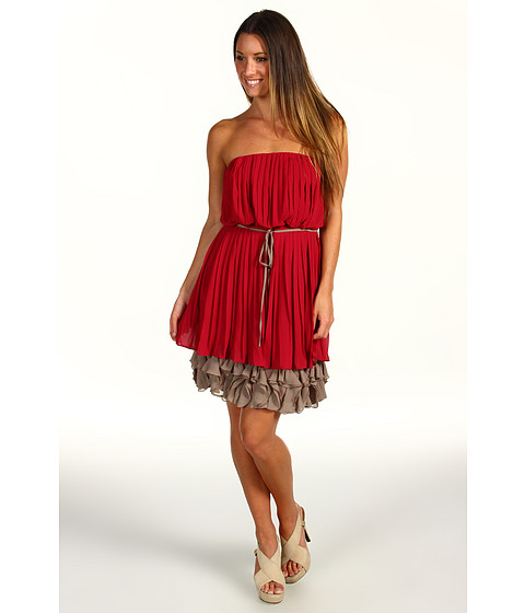 Jessica Simpson - Strapless Corkscrew Ruffle Dress (Rose) Women