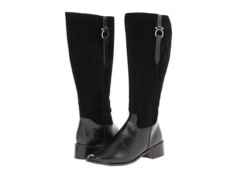 Annie - Janette (Black Antique/Black Velvet Suede) Women's Zip Boots