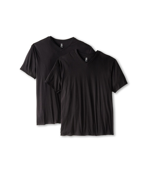 Calvin Klein Underwear - Big Tall Basic V-Neck 2-Pack (Black) Men's Clothing