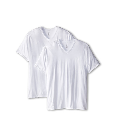 Calvin Klein Underwear - Big Tall Basic V-Neck 2-Pack (White) Men's Clothing