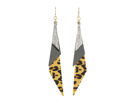 GUESS - 3 Triangle Leopard on Fish Hook (Silver/Crystal/Leopard) Earring