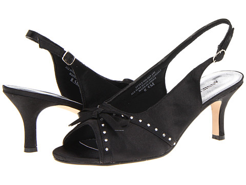 Annie - Mozart (Black Satin) Women's Dress Sandals