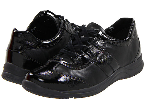 Mephisto - Laser (Black Crinkle Patent/Black Smooth) Women's Lace up casual Shoes