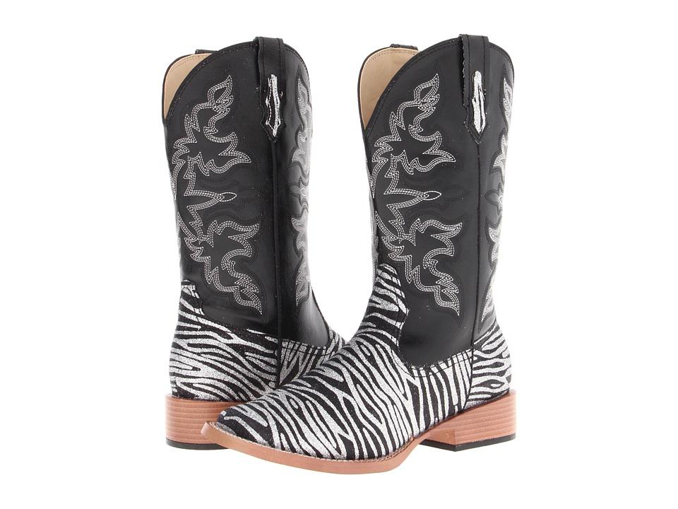 Roper Zebra Glitter Boot Square Toe (Black) Cowboy Boots