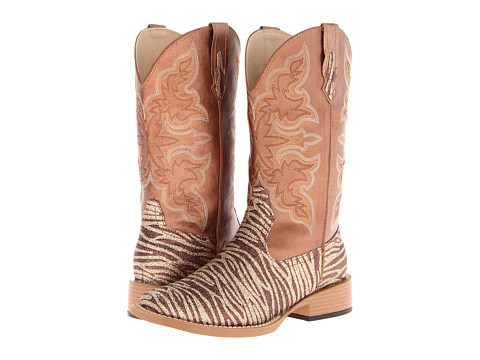 Roper - Zebra Glitter Boot Square Toe (Brown) Cowboy Boots
