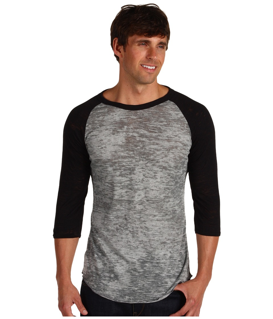Alternative Big League Burnout Baseball Tee (Grey Heather/Black) Men