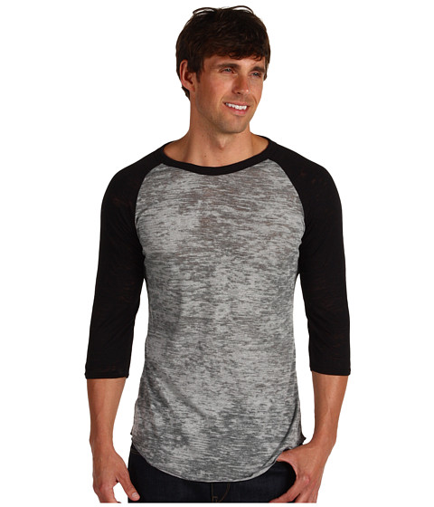 Alternative - Big League Burnout Baseball Tee (Grey Heather/Black) Men's T Shirt