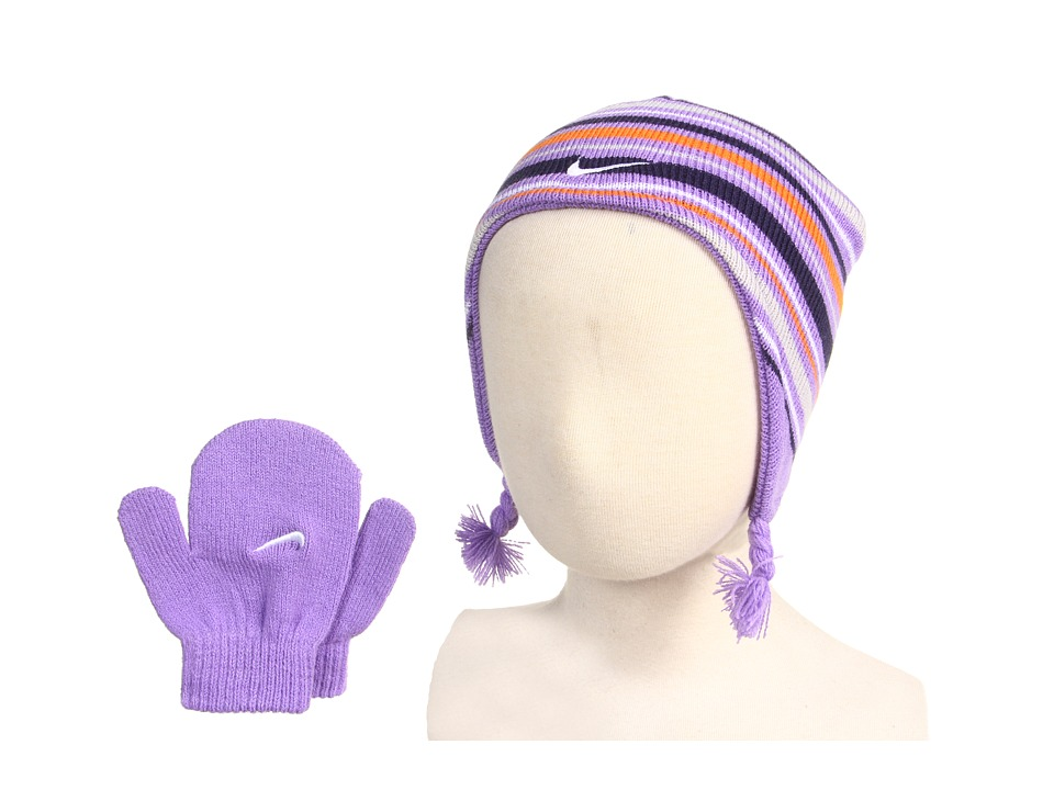 Nike Kids - Stripe Beanie and Mitten Set (Infant/Toddler) (Iris) Beanies
