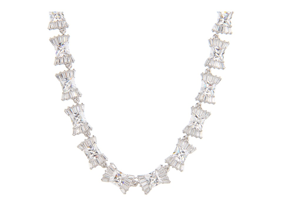 Kate Spade New York - Le Soir Bow Necklace (Clear/Silver) Necklace