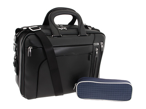 Tumi - Arriv - T-Pass Kennedy Deluxe Leather Brief (Black) Computer Bags