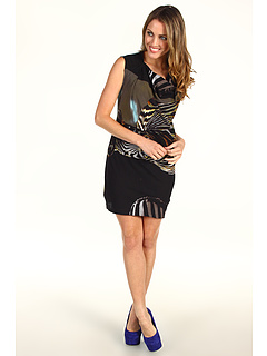 SALE! $119.99 - Save $178 on Edun Bold Zebra Print Sleeveless Drape Dress (Oil) Apparel - 59.73% OFF $298.00