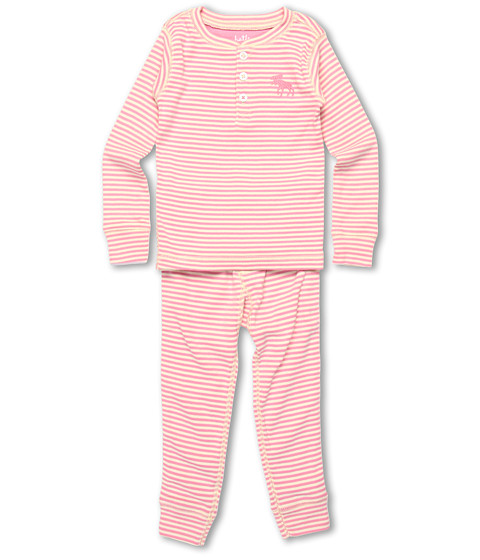Hatley Kids - Overall Print PJ Set (Toddler/Little Kids) (Pink Moose Stripe) Girl