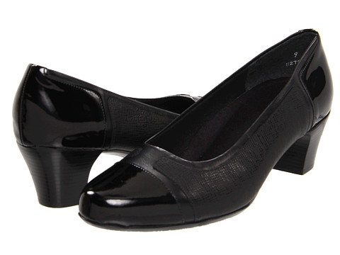 Munro American - Jillian (Black Kid/Black Patent) Women's 1-2 inch heel Shoes